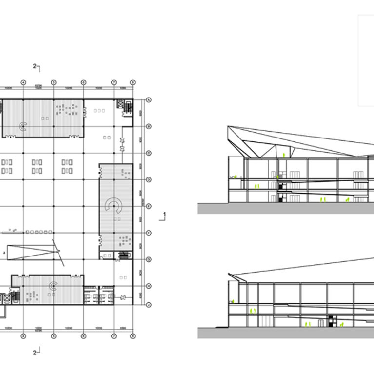 AQSO Industrial museum, plans and sections