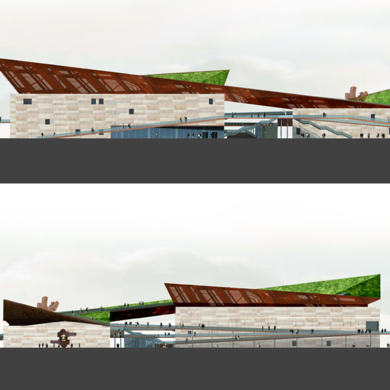 AQSO Industrial museum, elevations, steel roof, stone facade