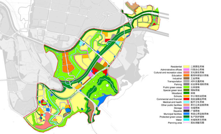 AQSO arquitectos office, tangjiatuo planning, land use and districts, residential, offices, recreation sites, education, industrial use, commercial financial district, municipal facilities, protection levels, woodland