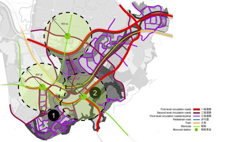 AQSO arquitectos office, tangjiatuo planeamiento, mobilidad urbana, sistema de transporte, jerarquía de viario, estaciones de monorail, radio de cobertura, nivel de circulación, zona de alcance, área de influencia, parada de metro, catalizador, mapa de calor, incremento de valor, diagrama, desplazamiento, arquitectos urbanistas