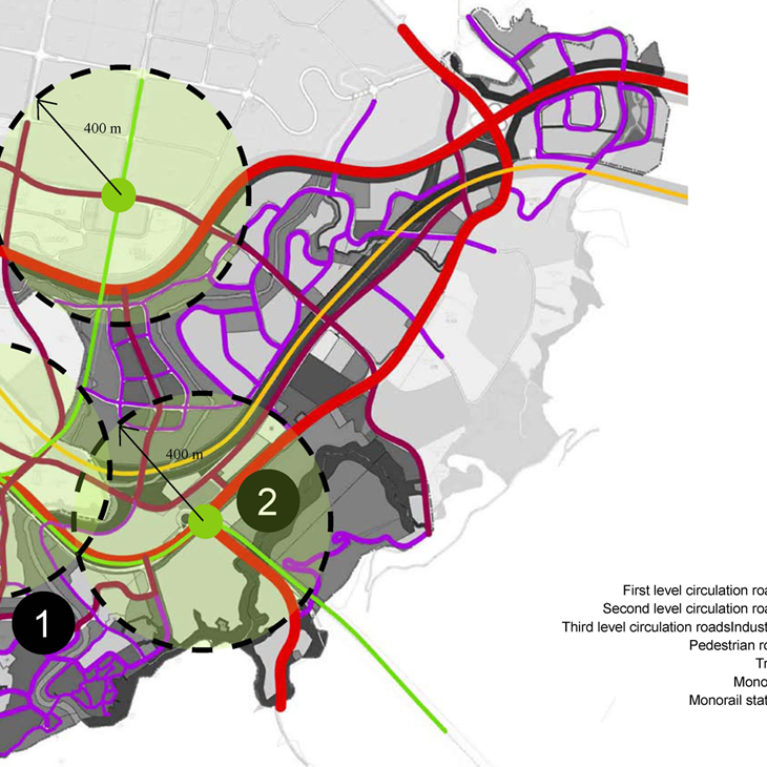 AQSO arquitectos office, tangjiatuo planning, urban mobility, transportation system, road hierarchy, monorail stations, coverage radius, circulation levels, reach area, influence, train station, catalyst, heatmap, value increase, commute, diagram, transportation design, urban design, architects