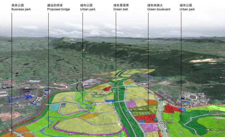 AQSO arquitectos office, tangjiatuo planeamiento, vista aérea, paisaje montañoso, uso del terreno, río, mapeado tridimensional, sectores, análisis urbano, escáner tridimensional, geolocalización, imagen de satélite, diagrama, ciudad, herramientas de planificación, sistema viario, división territorial