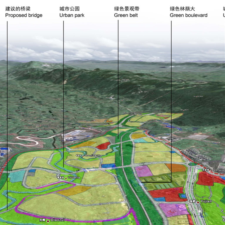 AQSO arquitectos office, tangjiatuo plannig, bird view, mountainous landscape, land use, river, 3d mapping, sectors, urban analysis, tridimensional scan, geolocation, satellite image, diagram, city planning tools, road system, territorial division
