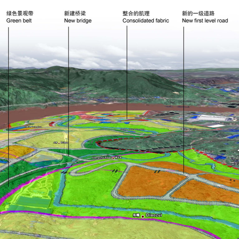 AQSO arquitectos office, tangjiatuo planning, land use, 3d terrain, mapping, industrial areas, diaozui, yangze river, chongqing, green belt, city planning, expansion areas, new developments, levelling, embankment, slope