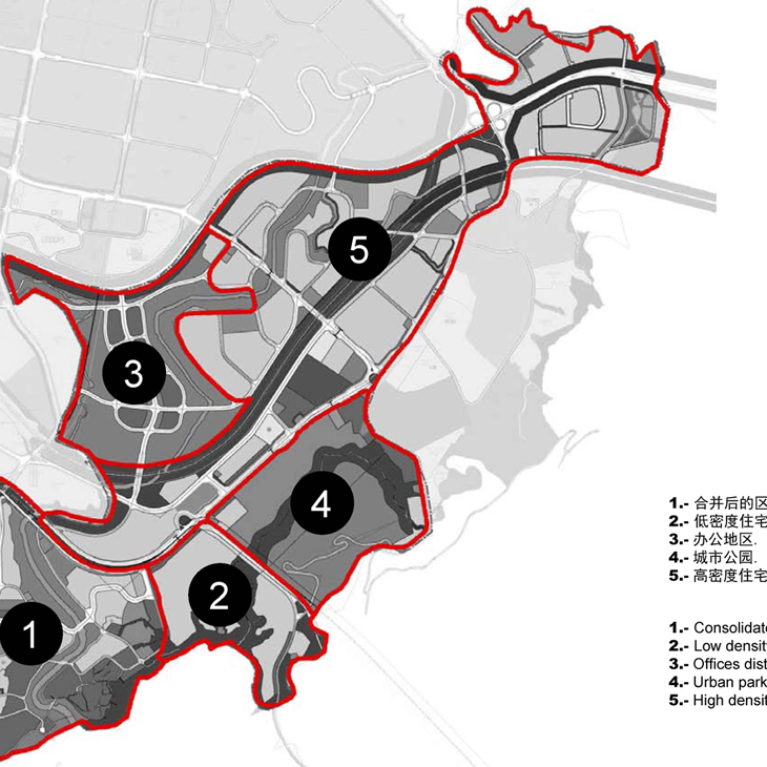 AQSO arquitectos office, tangjiatuo planning, map, sectors, intervention areas, urban fabric types, city planning, consolidated center, low density residential, urban park, high density, diverse city, regeneration, architectural services