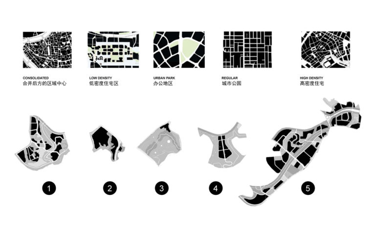 AQSO arquitectos office, tangjiatuo planning, map, sectors, intervention areas, urban fabric types, breakdown, comparison, urban analysis, density, mountainous landscape, city on a hill, urban morphology, lots