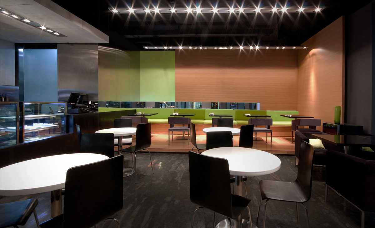 AQSO moment cafe, colorful sofas and polished concrete