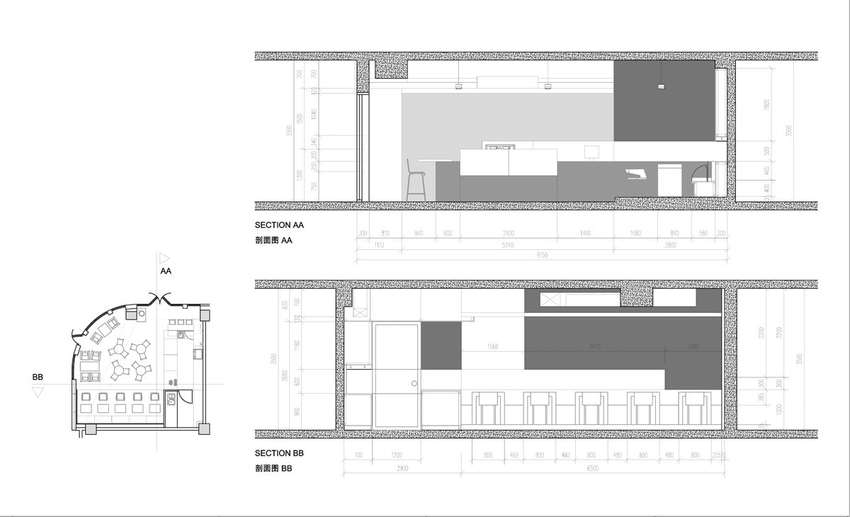 AQSO moment cafe, sections and elevations