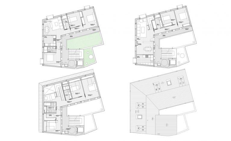 AQSO arquitectos office, maragato lofts, planos de distribución que incluyen el loft, los apartamentos, un local comercial y el patio con la escalera exterior