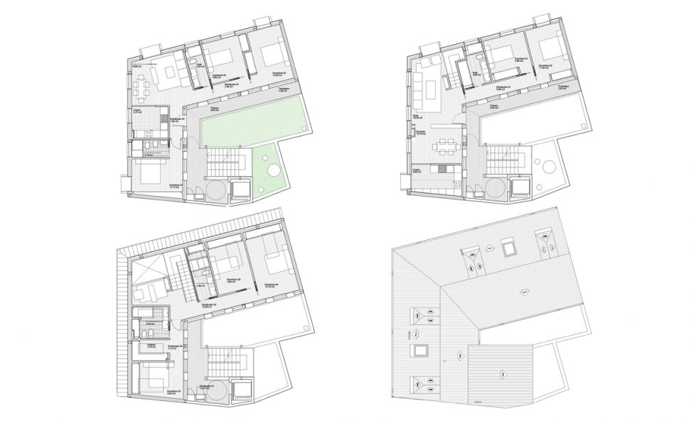 AQSO arquitectos office, maragato lofts, floor plans including the top floor loft, the apartments, the retail unit on the ground floor and the outdoor staircase in the courtyard