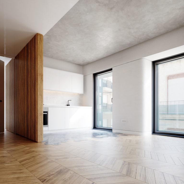 AQSO arquitectos office, salón de las viviendas Maragato Loft en Astorga. La tarima de madera de espina de pez combina con las baldosas hexagonales de hormigón de la cocina en un diseño simple y elegante.