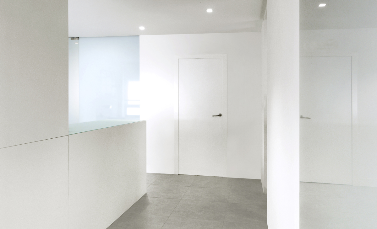 AQSO Zurbaran clinic, entrance door, lacquered plywood, satin steel hinges