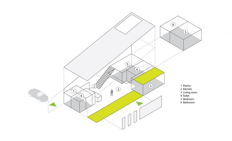 AQSO arquitectos office. Functional diagram of the dwelling. Exploited axonometry showing the form, uses, accesses and functions of the house.