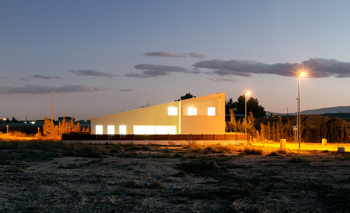 aqso, bright, casa-cuna, dwelling, elevation, exterior, house, landscape, lorqui, modern, murcia, night-view, spain-2, sunset, villa, wasteland, white-hills