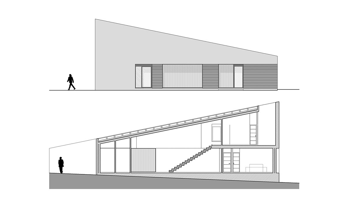 aqso, casa-cuna, elevation, floor-plan, height, house, minimal, modern, section, shadow, simple, sloping-roof, windows