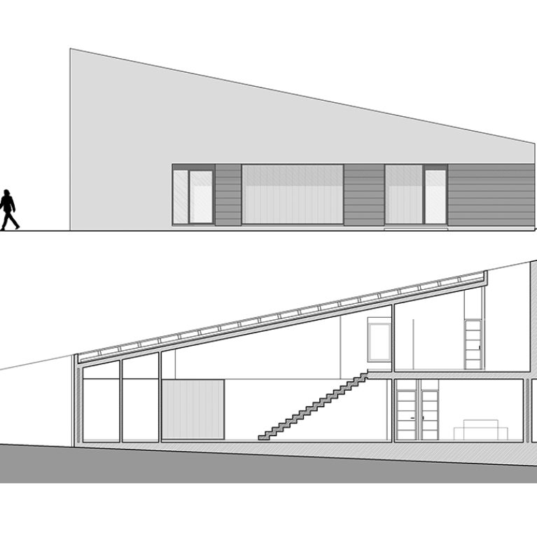 AQSO arquitectos office. The front elevation of the house and its longitudinal section, showing the large double-height living room and the bedrooms.