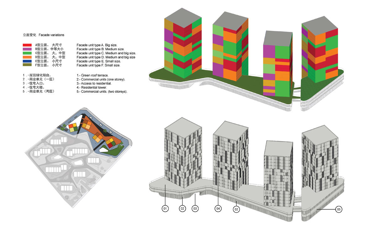 AQSO spliced towers, towers type units and facade, axonometric view