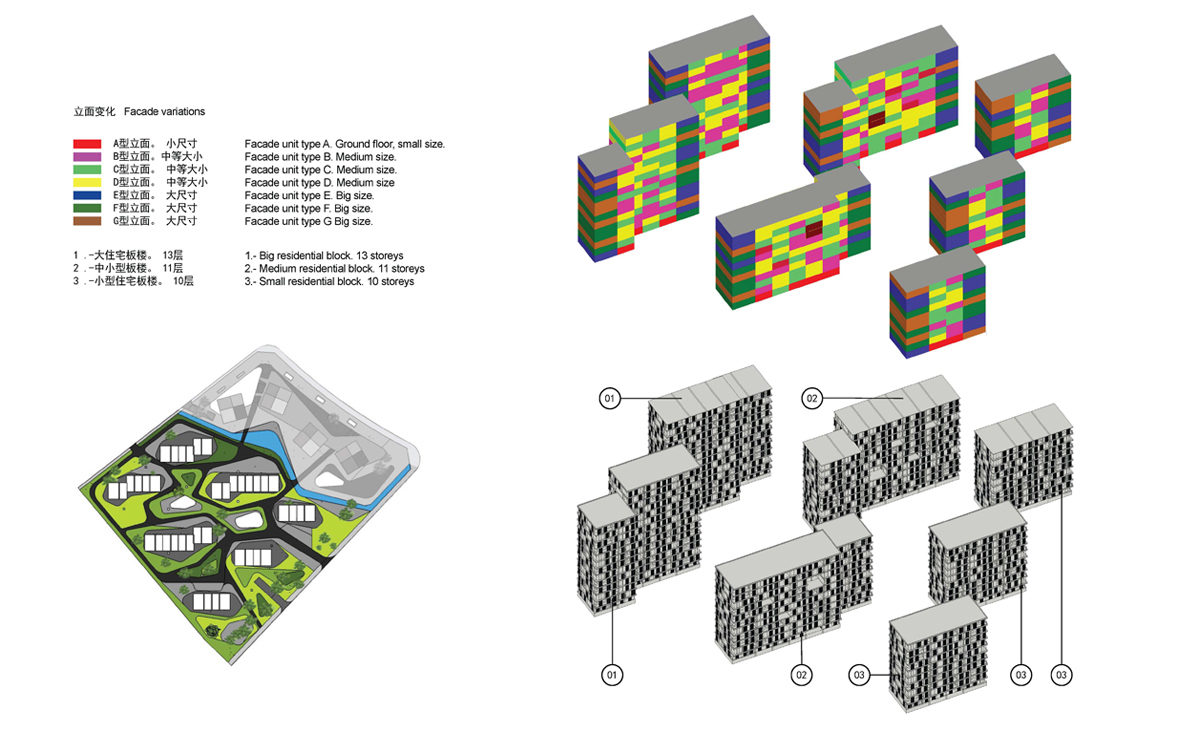 AQSO spliced towers, axonometric view, diagram, facade types, residential blocks