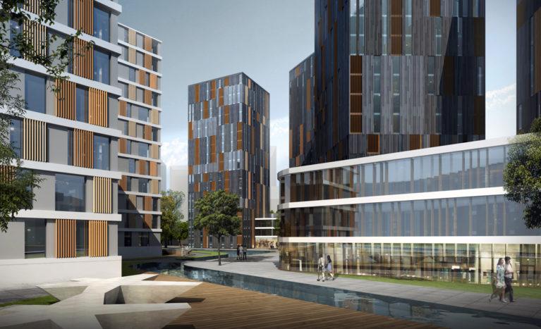 AQSO arquitectos office. El diseño del paisaje combina zonas peatonales, jardines y un arroyo artificial que separa la zona residencial de la zona comercial.