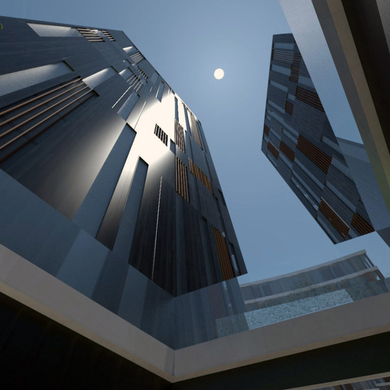 AQSO arquitectos office. View of the office towers. The façade is formed by a curtain wall of stone, glass and wood in dark colours to form a modern and contemporary design.