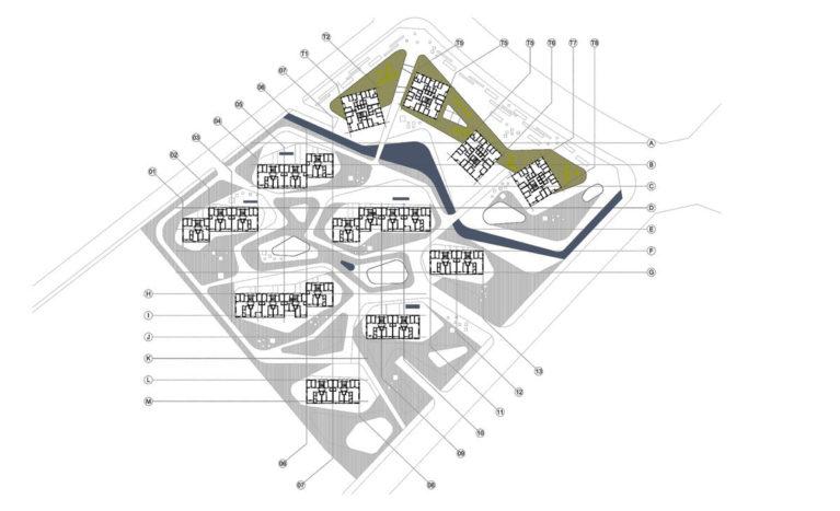 AQSO arquitectos office. La planta urbana del primer piso del conjunto de edificios permite ver la distribución de unidades residenciales y la densidad de este complejo de uso mixto.