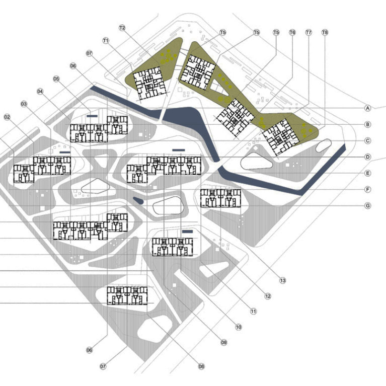 AQSO arquitectos office. The urban plan of the first floor of the building complex shows the distribution of residential units and the density of this mixed-use complex.