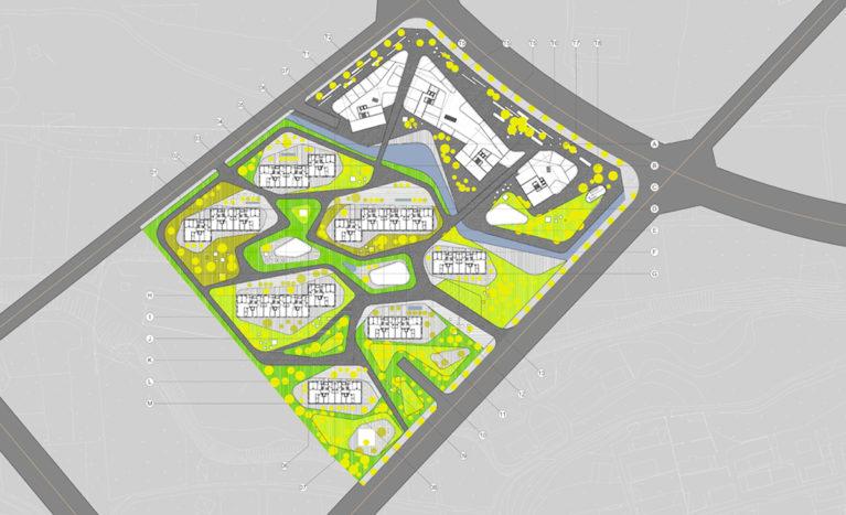 AQSO arquitectos office. El complejo de edificios cuenta con una zona residencial y un conjunto de torres de oficinas sobre un podium de uso comercial. El diseño del paisaje es fluido y orgánico.