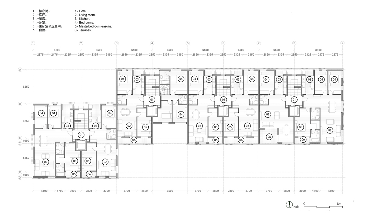 AQSO spliced towers, residential units, floor plan