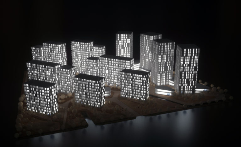 AQSO arquitectos office. La maqueta del proyecto muestra la relación de los edificios con el paisaje. Las torres de oficinas tienen una orientación libre mientras los bloques residenciales buscan la luz del sur.