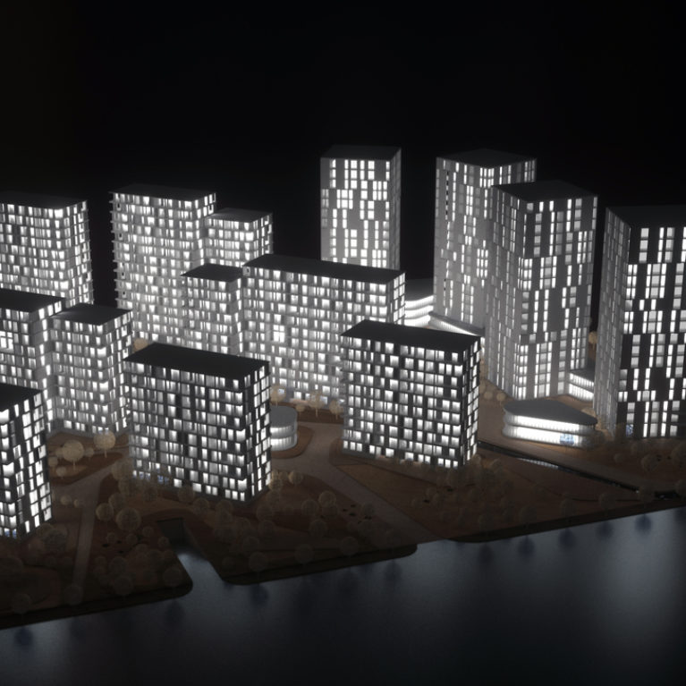 AQSO arquitectos office. The model of the project shows the relationship of the buildings to the landscape. The office towers have a free orientation while the residential blocks seek the light from the south.