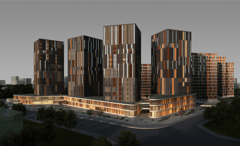 AQSO spliced towers, panoramic, wooden facade, stone cladding, retail podium, connecting bridge between buildings, vertical pattern