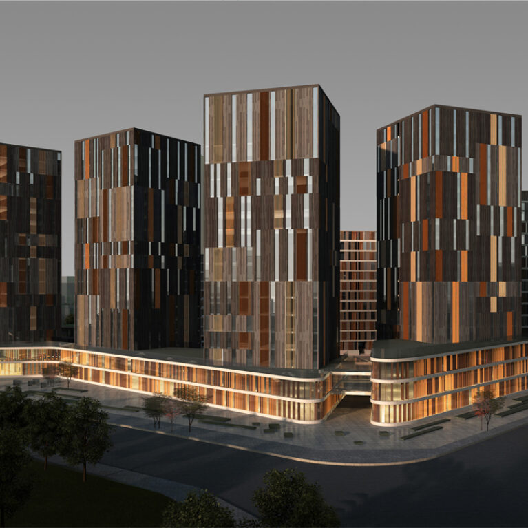 AQSO arquitectos office. The office towers have a contemporary façade design that resembles a tapestry of stone and wood.