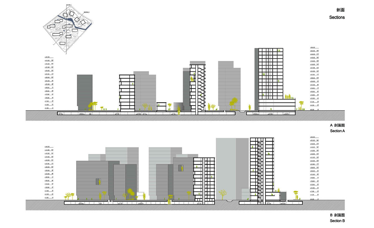 AQSO spliced towers, general elevations and sections