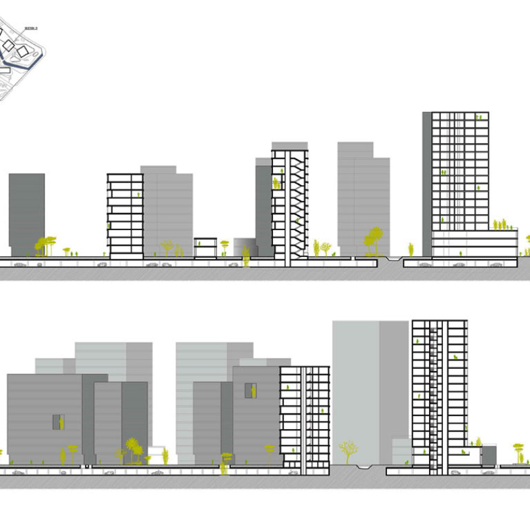 AQSO arquitectos office. The longitudinal sections of the building complex show the basements, the landscaping and the distance between the office towers and the residential blocks.