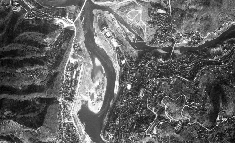 AQSO Pengshui urban planning, ortho-photo, black and white, aerial view
