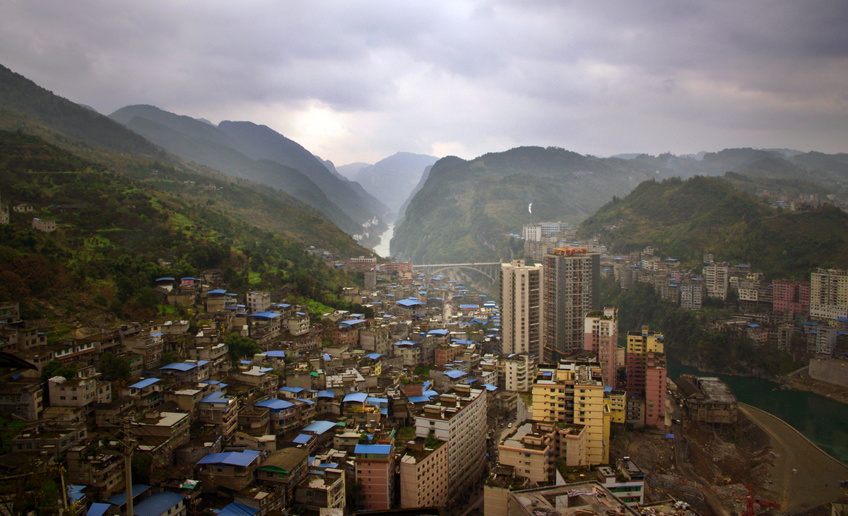 AQSO Pengshui urban planning, General view of Pengshui city, central district