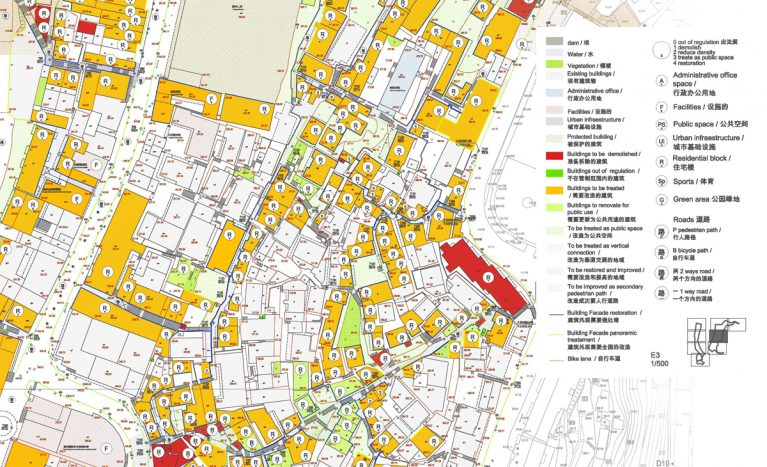 AQSO arquitectos office. Urban plan showing assigning different levels of protection to buildings in a conservation area. Urban planning document showing listed buildings and land use.