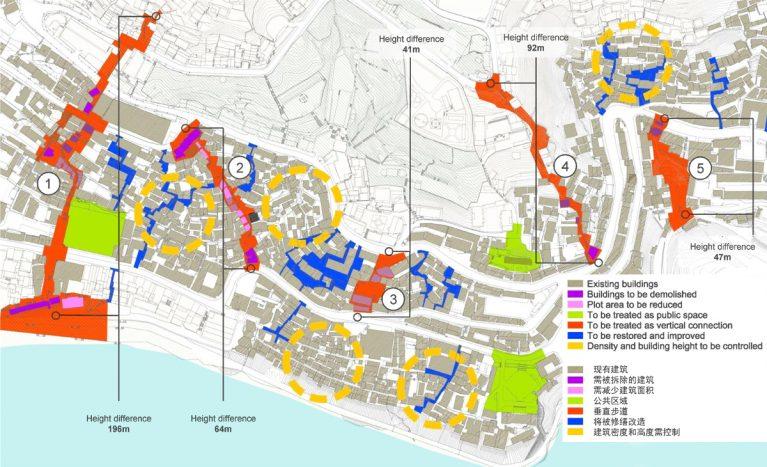 AQSO arquitectos office. Este estudio detallado de mobilidad urbana pretende establecer escaleras y ascensores que mejoren la circulación peatonal y regeneren el tejido urbano en pendiente.