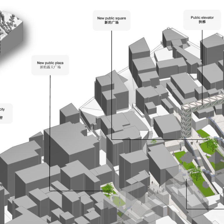 AQSO arquitectos office. Three-dimensional view of the urban fabric of the city. Green areas, stairs, ramps and lifts for public use are proposed to overcome the slope of the land.