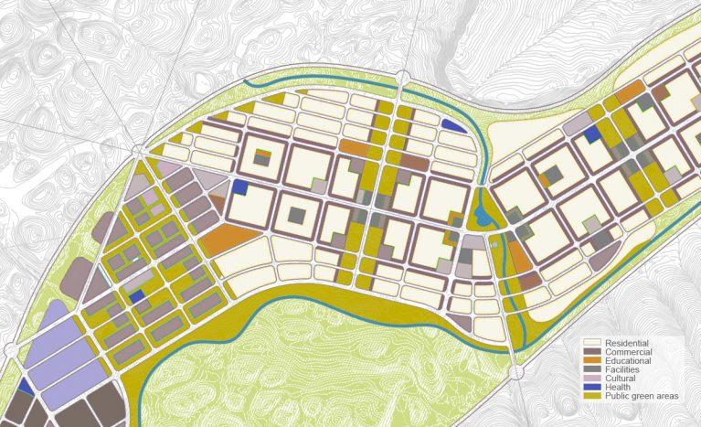 AQSO arquitectos office. Plano de ordenación urbana del distrito de Dianshui. Esta es una zona de expansión de la ciudad con un tejido urbano diverso y sostenible.