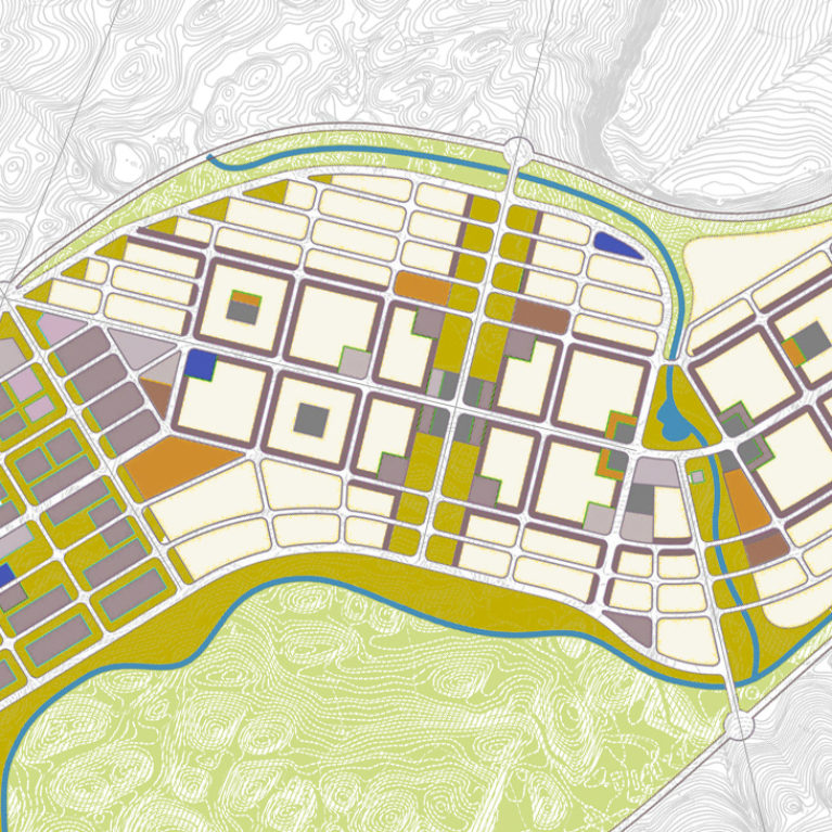 AQSO arquitectos office. Town planning map of Dianshui District. This is an expanding area of the city with a diverse and sustainable urban fabric.