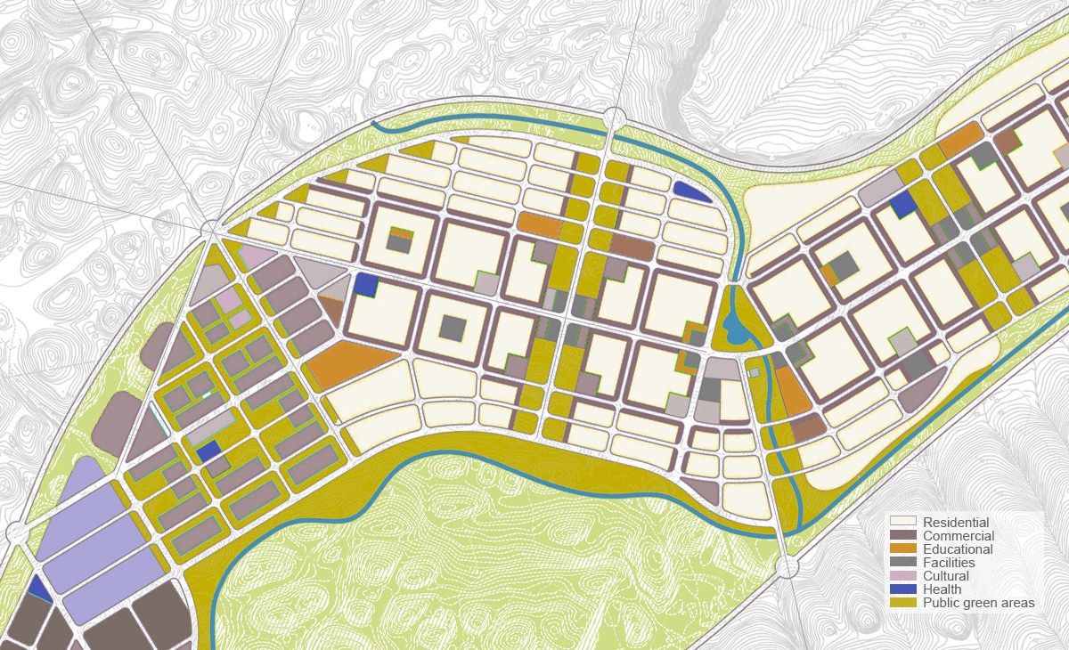 AQSO Pengshui urban planning, Dianshui district masterplan, land use