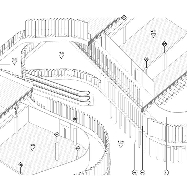 AQSO arquitectos office. Este detalle constructivo tridimensional muestra el sistema constructivo del edificio y el funcionamiento de la fachada.