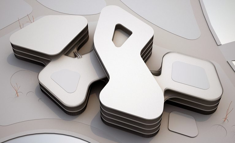 AQSO arquitectos office. The top view of the model of the building shows the meandering silhouette of the shopping centre. The zig-zag shape creates courtyards open to the landscape.