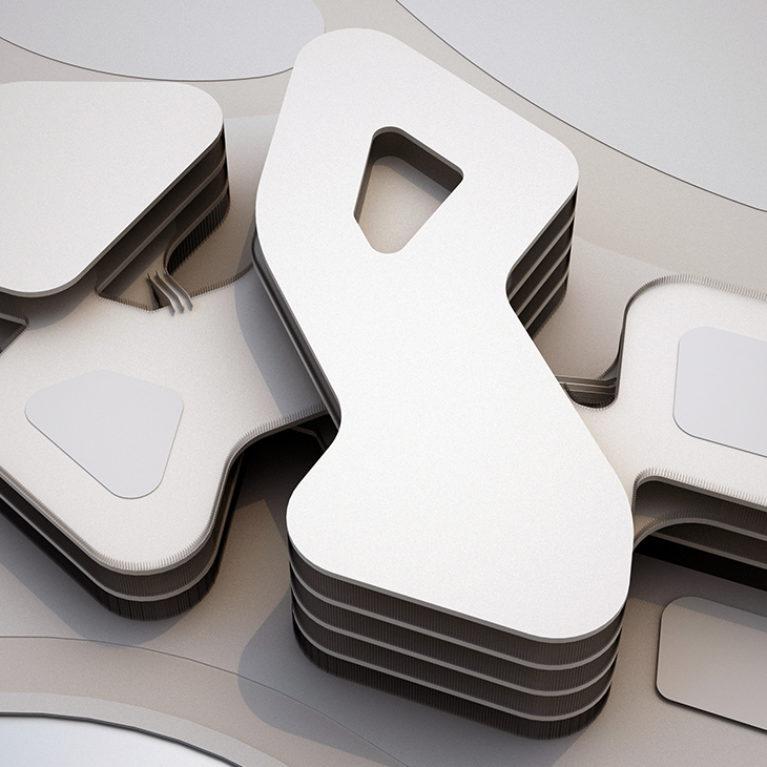 AQSO arquitectos office. La vista superior de la maqueta del edificio permite apreciar la silueta serpenteante del centro comercial. La forma en zig-zag crea patios abiertos al paisaje.