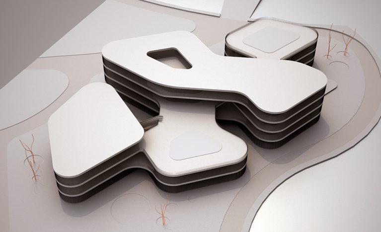 AQSO arquitectos office. Los cinco volúmenes interconectados del edificio se adaptan a la forma de la parcela, rodeada por un río.