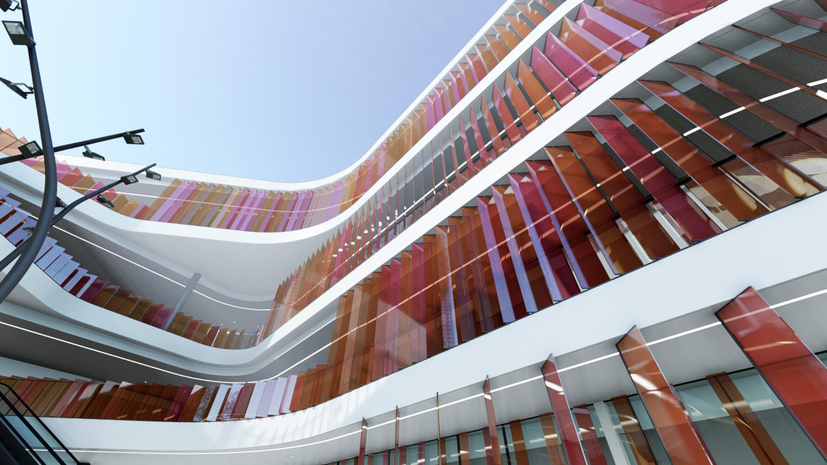 aqso arquitectos office, market eight, louvers, colors, white slab, escalator, commercial building, interlaced slabs