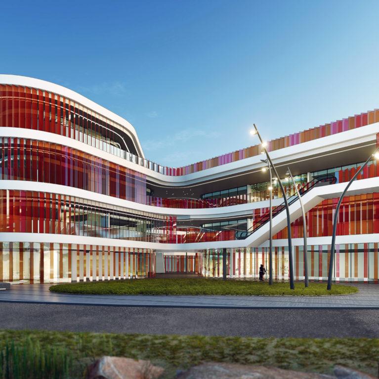 AQSO arquitectos office, mercado del ocho, lamas de colores, edificio comercial, niveles, fachada curva, formas orgánicas, fachada de cristal