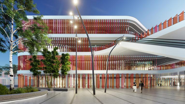 aqso arquitectos office, interior, courtyard, corridor, open space, sunlight, public space, big tree, stone pavement, glass facade, grand entrance