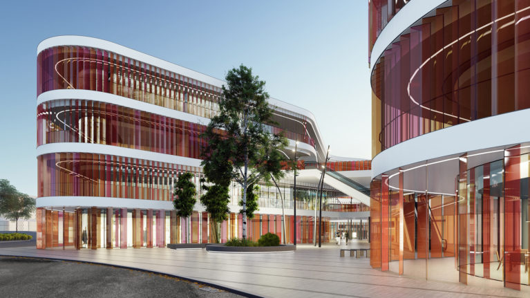 AQSO arquitectos office, market eight, louvers, colors, main entrance, square, courtyard, stone pavement, translucent glass